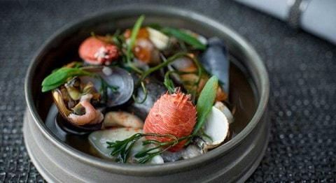 "A taste of Tom Kitchin's signature ""Shellfish Rockpool"""